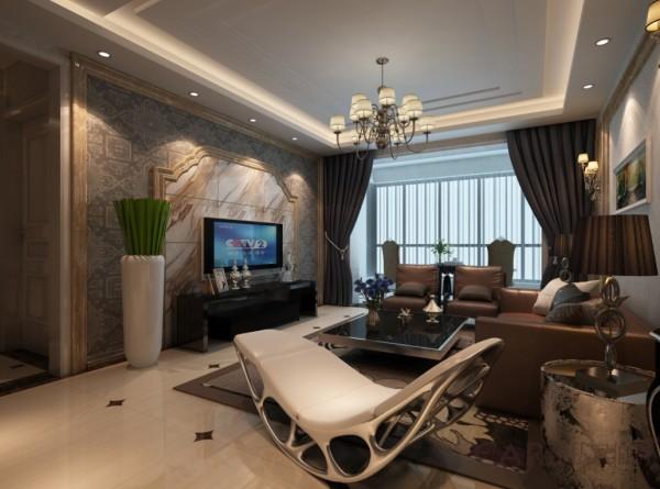 灵感来源于躺床的椅子、立体式的茶几;古朴欧式窗户造型的电视背景,米兰国际设计机构