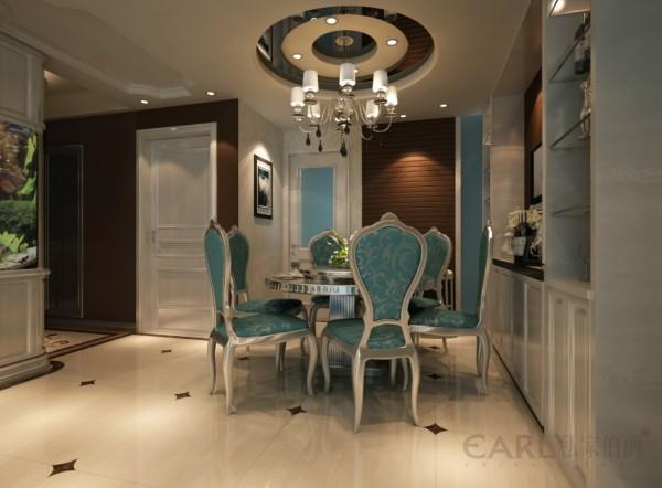 柜体两用的鱼缸,圆形的餐厅与圆桌的对应及生活小吧台,米兰国际设计机构