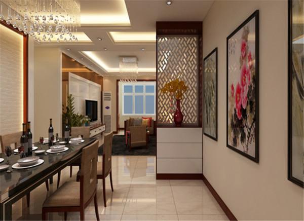 利用中式元素的餐桌,营造空间中式文化氛围,采用餐边高柜柜既满足使用功能,而且比传统意义上更充分利用空间,用加以装饰性的柜子也起到美化空间的作用,餐厅的墙面利用壁纸起到画龙点睛的作用