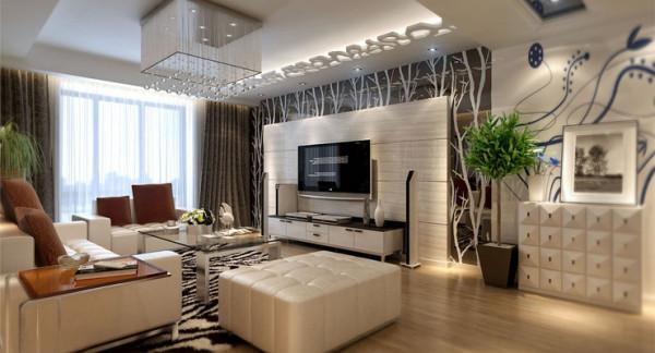 客厅的亮点在于电视背景墙,大面积的暖色墙漆和壁纸相结合,充分的展现了家庭温馨的氛围。吊顶只是采用了简单的一条石膏板造型,来凸显出电视背景墙在整个空间中的亮点,而且直线的造型简约而不失简单