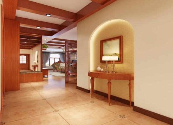设计理念:小小的门厅不需要过多的装饰,木梁吊顶和素雅的壁纸点缀即可。