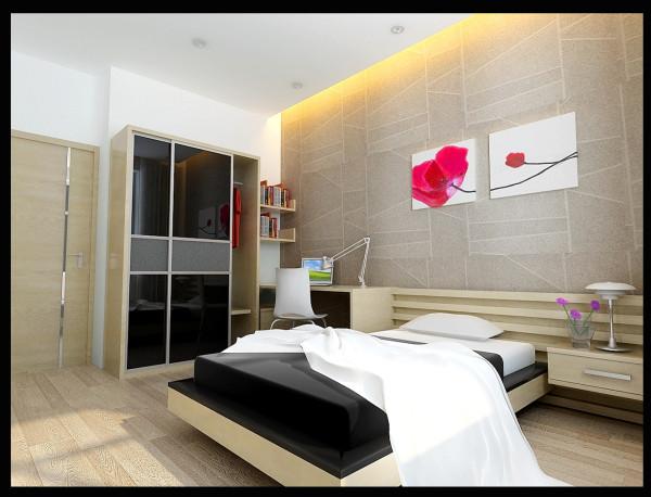 成都实创装饰—整体家装—现代简约风格装修参考—卧室装修效果图
