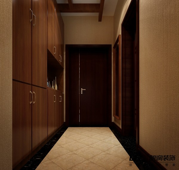 进门的鞋柜带储物功能,颜色一样显露古朴自然。