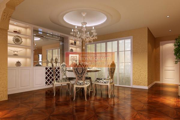 精美花纹,线条精美的餐桌椅,加上白色的酒柜,放上几件艺术品,让餐厅用餐舒适自在。