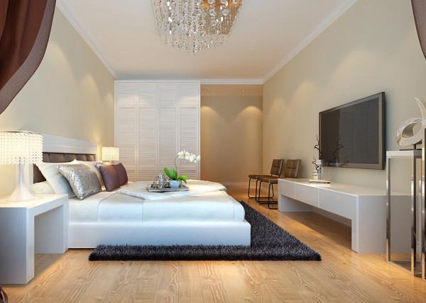 墙面整体和客厅完全不同,一个温馨的卧室,一片米黄色温馨的墙面,白色的家具点缀,让这个家更温暖。