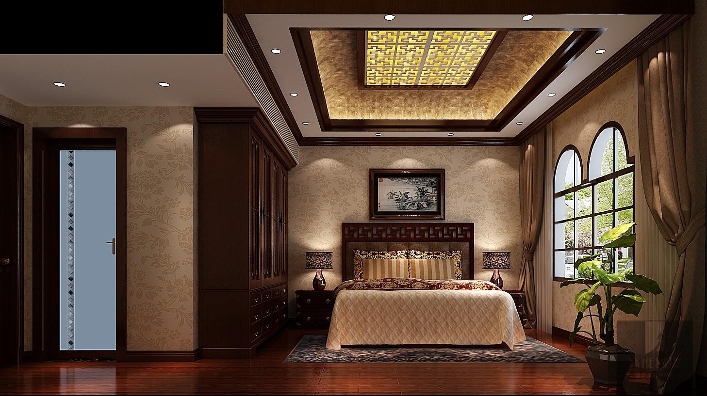 三居中式传统字画屏风卧室图片