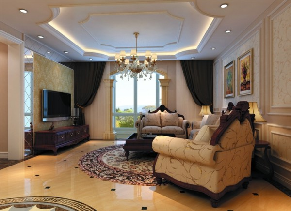设计理念:吊顶的设计充分体现了欧式风格的元素,流畅的线条,曲面的造型,电视墙的银色镜面增加了空间的明亮度,沙发和电视柜的搭配也体现了欧式的豪华大气的特点。