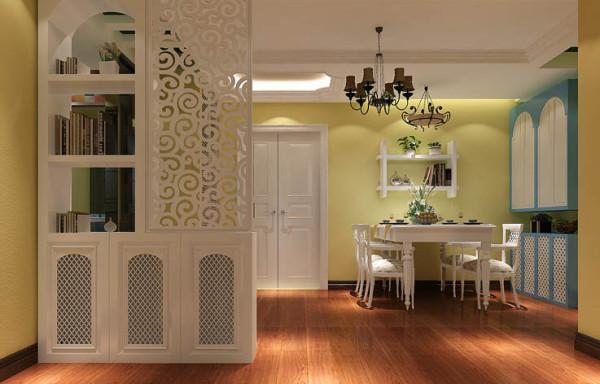 餐厅摆放白色餐桌使整个空间显得更明亮;客厅以暖色硅藻泥与木质顶面相结合,整个空间呈现出典雅、休闲、舒适的氛围