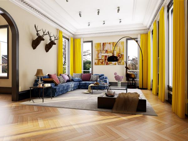 客厅空间——利用撞色打造欢快的客厅空间, 温馨、舒适、美观、实用,才是我们的追求。这里的温馨,因为舒适的光而存在优雅的配饰,巧妙的吸引着我们欣喜的视线像调皮的精灵,在阳光下沐浴。