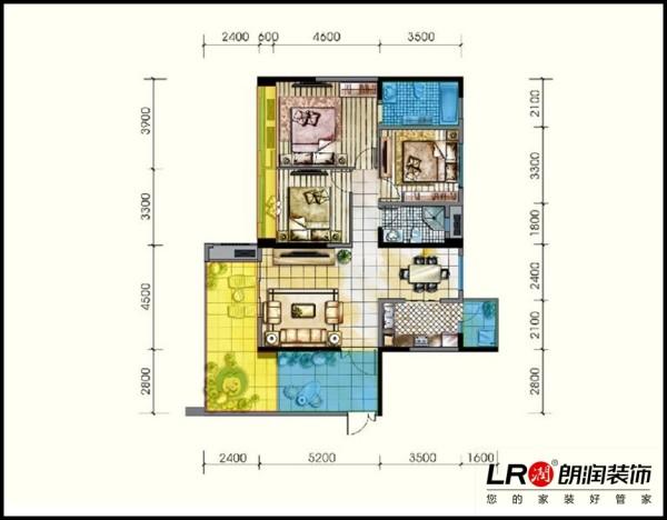 光明城市-三居室-121.88平米-户型图装修设计
