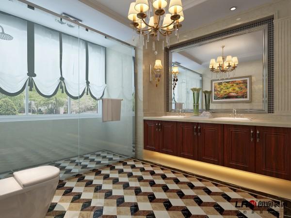 卫生间用大理石订做了浴室柜,地面石材拼花,整体大气上档次。