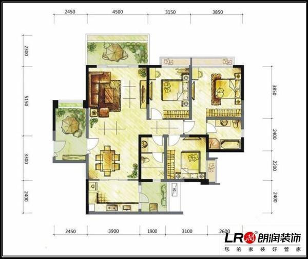 仁和春天国际花园-三居室-137.57平米-户型图装修设计