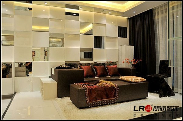 南湖国际社区-二居室-124平米-客厅装修设计
