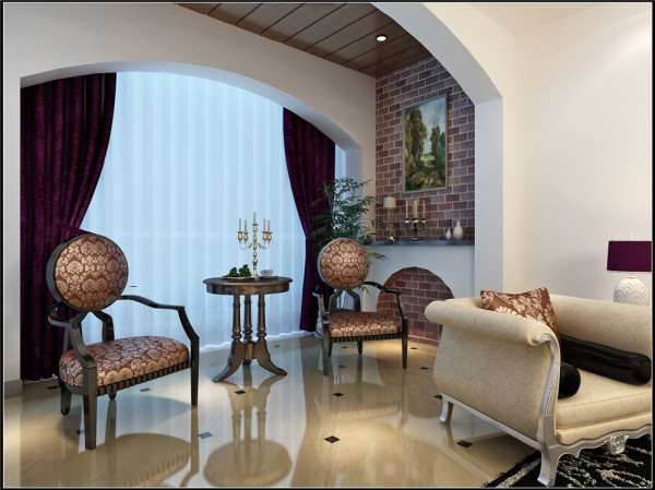 卧室床头背景墙和整个空间结合,是整个房间最有特色的地方。酒红色的壁纸再配以高贵典雅的水晶吊灯,将整个房间的贵族气质显现得淋漓尽至。