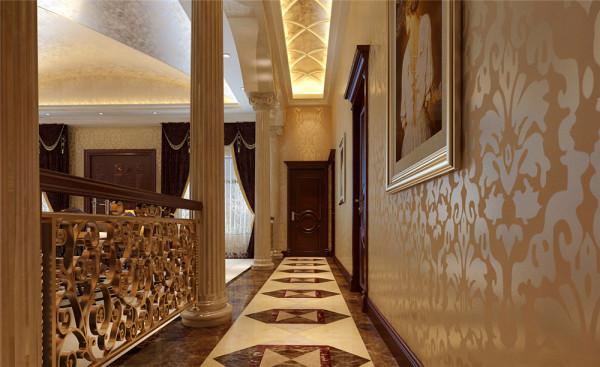 大厅运用石膏板吊顶,整体设计成弧形造型,运用风水之内圆外方,可起聚财。