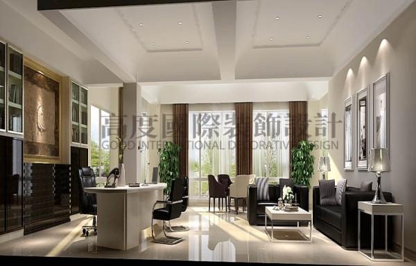 会议室黑色桌椅的选择,也是迎合了现代风格的时尚感,实现了商业气质,在前厅的设计上也是本着温馨的原则,给人一种家的感觉。