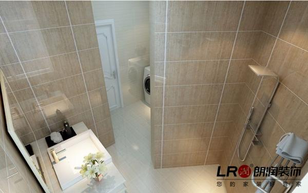 卫生间用了简单素雅的仿石材的墙砖。