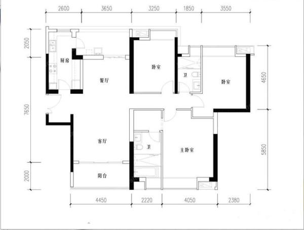 成都ICC-三居室-159平米-户型图装修设计