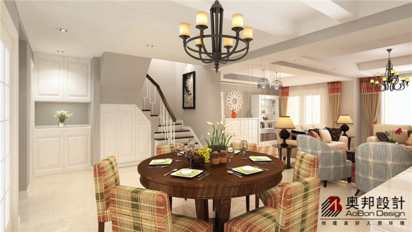餐厅的设计非常雅致,清新自然的田园气息不知是来自优雅的吊灯还是来说舒适的餐桌餐椅,更或许是来自本身简约的楼梯