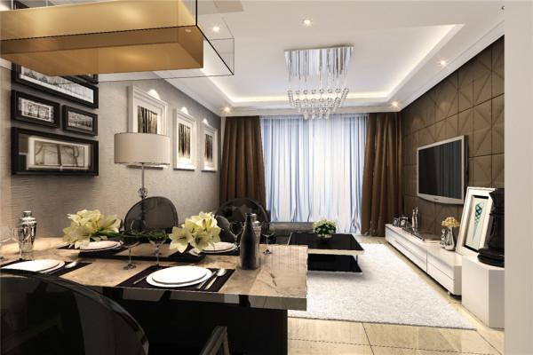 深咖色的软包覆盖整个电视背景墙,成为家中时尚感中心,浅灰的肌理墙纸体现家中的大气而又不缺乏朴素。