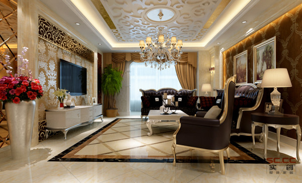 客厅作为待客区域,要求简洁明快,同时装修较其它空间要更明快光鲜,不要过多累赘复杂的造型,体现了主人的内蕴品性。欧式的沙发,体现出优雅又不失奢华。地面的拼花,很好的划分了客厅区域。