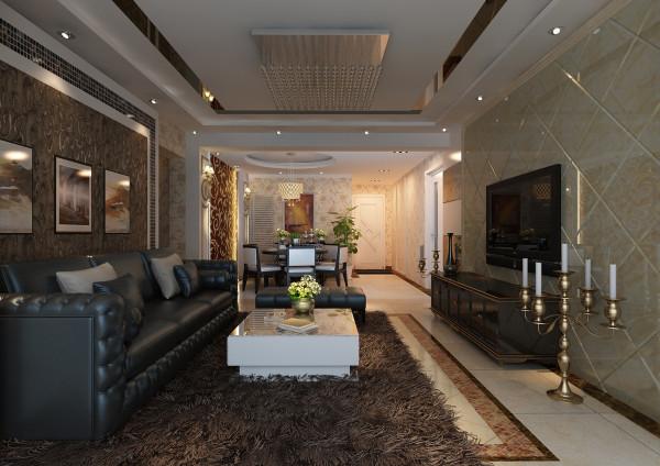 电视背景墙采用石膏板搂槽工艺,中间用茶色玻璃填充,既简单又不失低俗,石膏板搂槽横向排列,对整个电视背景墙都具有延伸作用。