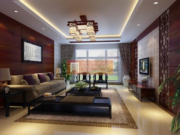 新中式风格的客厅极具中国浪漫情调的生活空间,以实木的棕色调为主,具有中国特色的实木镂空背景墙,加上中国元素改良的水晶灯,是整个客厅散发出迷人的东方魅力。