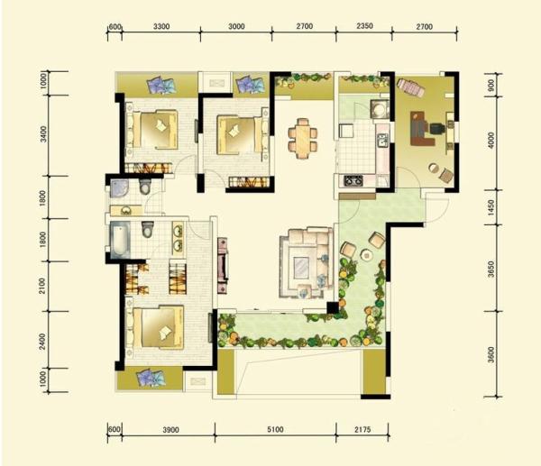 中信未来城-三居室-138.01平米-户型图装修设计 室内布置中也有既趋于现代实用,又吸取传统的特征,在装潢与陈设中溶古今中西于一体,例如传统的屏风、摆设和茶几,配以现代风格的墙面及门窗装修、新型的沙发;