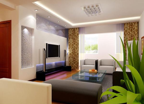 银色金属条纹质地的电视背景墙是客厅的一大亮点,它使得居室内宁静质朴的氛围中,生出一抹亮色,再配以蓝色灯光,炫目而不耀眼。木色地板和白色沙发的搭配,一动一静,一张一弛,井然有序