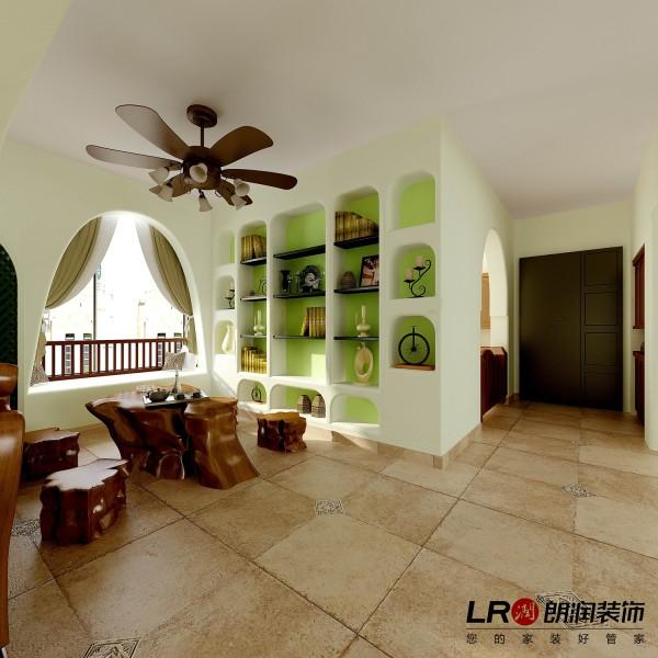 """客厅的隔断后的另一面,小小的休闲区域,完美的生活感受,清新白色调点缀淡淡的苹果绿色,怎一个""""美""""字可以形容。"""