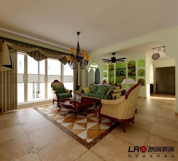 客厅造型简约自然,完全是用颜色的协调和美给了我们不一样的震撼的感受,淡淡的苹果绿的小点缀以及地面拼花的呼应搭配,自然得就像一幅完美的图画。