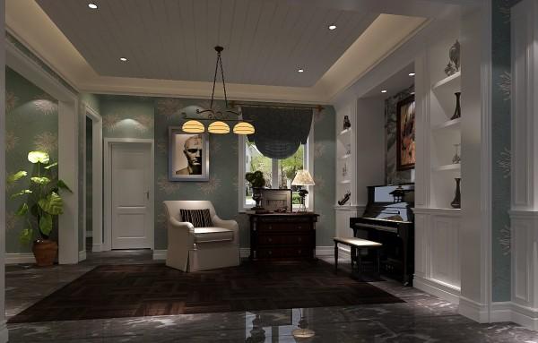 开放式书房,钢琴,展示墙上的红酒,一切尽显此位做艺术家的业主随意且不拘一格的性格.