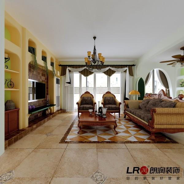 客厅的电视墙面造型,搭配家居沙发以及地面地砖拼花,整个空间协调自然完美。
