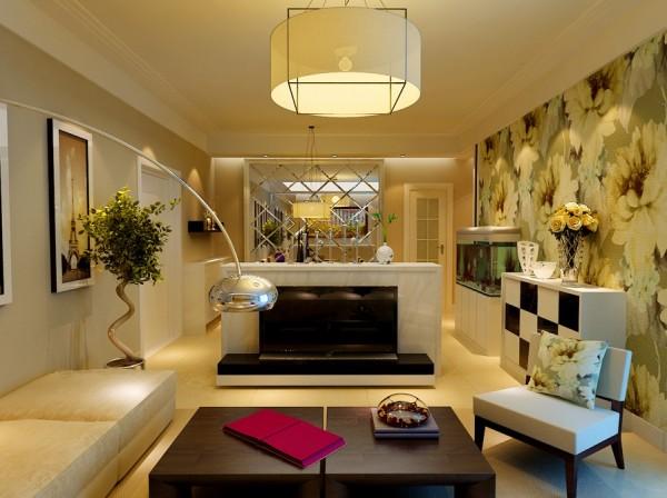 电视背景墙采用的是,现场制作的,大理石台面,可以合理的运用空间。也避免了反光的效果