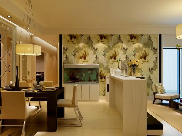 餐厅,没有过多的设计,使用成品的鱼缸点缀空间的品质,