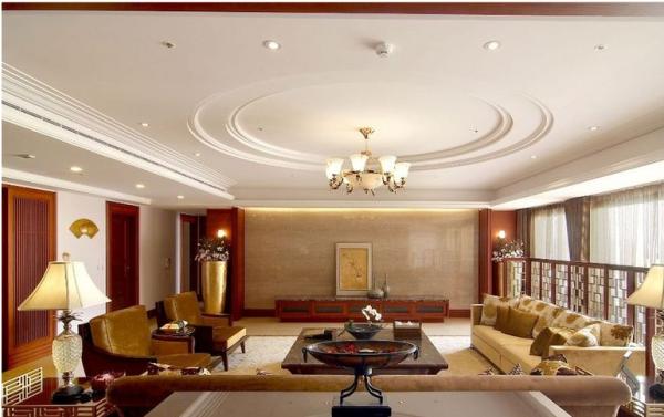 中信未来城-三居室-138.01平米-客厅装修设计 室内布置中也有既趋于现代实用,又吸取传统的特征,在装潢与陈设中溶古今中西于一体,例如传统的屏风、摆设和茶几,配以现代风格的墙面及门窗装修、新型的沙发;