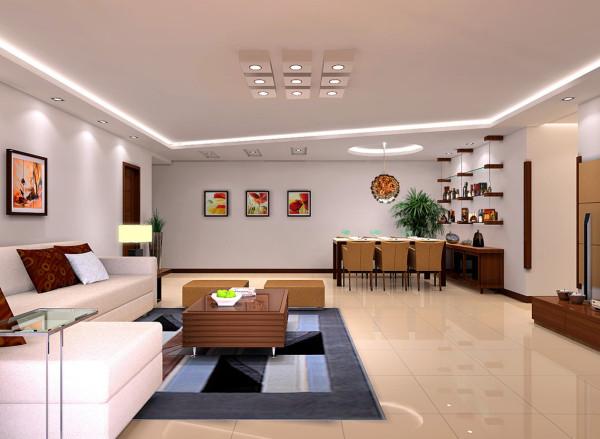 客厅选用800*800玻化地砖,整体感大气整齐划一,电视背景墙面选用壁纸,体现该设计低调简洁明快的风格特色,整体风格温馨明亮。