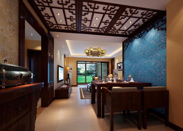 设计理念:餐厅的设计,利用经典浓重的色彩,硕大的花纹图案,适当比例的运用,自然风格家私饰品的点缀,引领出高贵、新颖、豪华的东南亚感觉。
