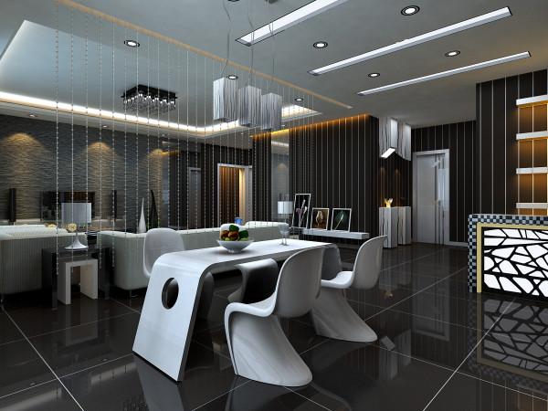 餐厅:客餐厅的区分化,既简单又不失美观,一组现代的餐厅灯衬托了整个餐厅的现代气息,打造简单,白色的桌椅与空间的氛围非常协调,静等主人的归来