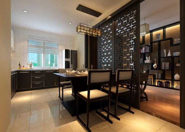 餐厅顶面及书房顶面采用石膏板的材质,为吊顶,辅助灯光设计。厨房地面与客厅通体瓷砖