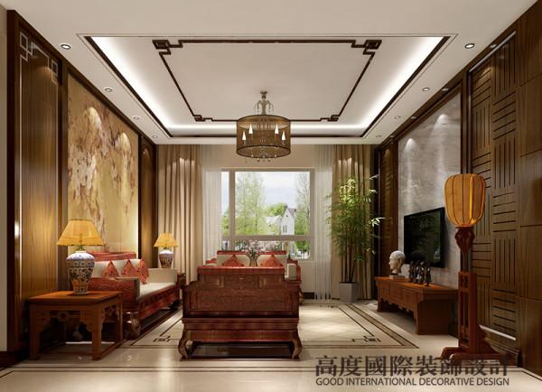 客厅是传统与现代居室风格的碰撞影视墙的造型简洁现代,却在醒目位置饰以中式书法,这种绝妙的组合给人以强烈的视觉意志力,成为时尚与古典的柔媚结合。