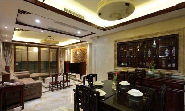 中海城南华府-四居室-186平米-餐厅装修设计  将餐厅和客厅尽收眼底