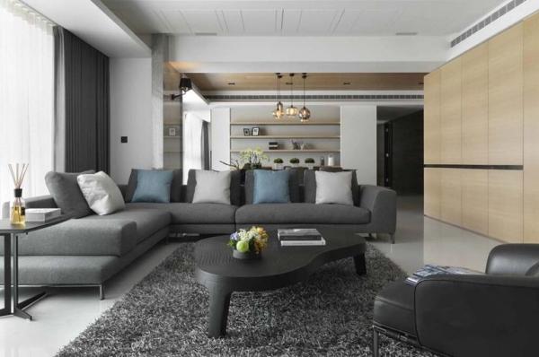 北京城建龙樾湾-三居室-98平米-客厅装修设计  客厅空间,也能看到整个餐厅和客厅的空间效果