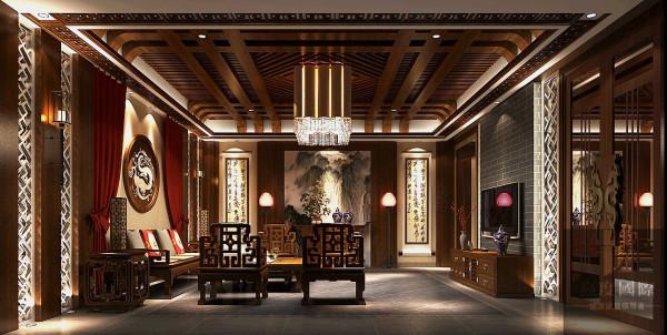 外廊静谧且气派,走进入户门则是恢弘气派的庭院,庄严不苟。会客厅格局方正,家私摆放为中国古典的围合式,四面设有厅窗,将室外的庭院景观引入室内,使室内外融为一体