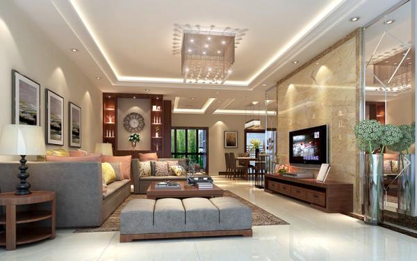 应客人要求,现代风格内点缀沉稳元素,利用镜面、石材和不锈钢等材质组合背景与简单线条的木制作相互衬托装点客厅,流畅的线条美感中隐含沉淀韵味。