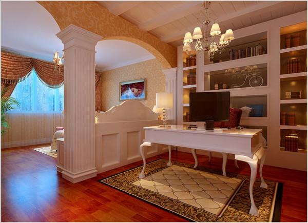 电视背景墙的暖色大理石和肌理感强的壁纸,配以明亮素实的窗帘、古典色彩的地毯相呼应的吊灯,加上造型简洁大方的沙发背景墙构成了一个典型的欧洲世界