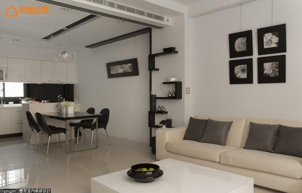 客餐厅的空间以自由来去的动线作规划,并减少空间中多余柜体的设置。