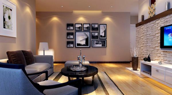 客厅的电视背景墙和沙发的背景相互应,通过完美的线条和精益求精的细节处理,带给家人不尽的舒服触感。