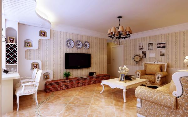 二居田园美式客厅书房卧室墙裙客厅图片