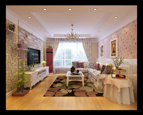 客厅和餐厅都大面积的使用了花纹壁纸,以及碎花布艺的沙发等家具再配上绿植使得你无论踱步何处都能把这种感觉吸进脑海里,唯一能从这浓妆艳抹里跳跃出来的仿石材电视墙更是毫不留情的把你拉向感官的最深处。
